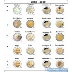 Farebné medzilisty do albumov NUMIS na pamätné 2 Euro mince - 20 mincí na stranu - číslo 22 - 2018-2019