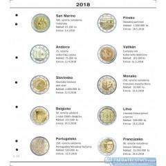 Farebné medzilisty do albumov NUMIS na pamätné 2 Euro mince - 10 mincí na stranu - číslo 42 - 2018