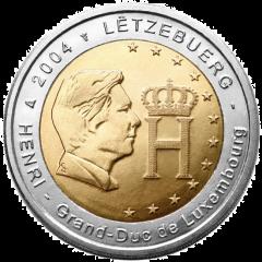 Luxembursko - 2 Euro 2004 - Podobizeň a monogram veľkovojvodu Henriho