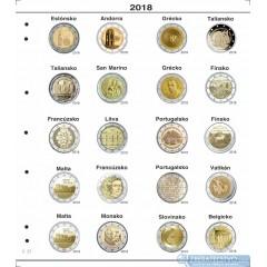 Farebné medzilisty do albumov NUMIS na pamätné 2 Euro mince - 20 mincí na stranu - číslo 21 - 2018